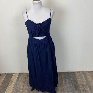 Bardot Navy Blue Ibeza Tie Front Sun Dress